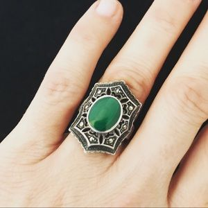 Vintage sterling malachite and marcasite ring